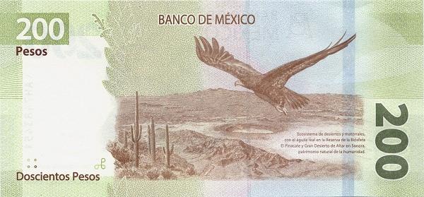 tył banknotu 200 peso meksykańskich serii G