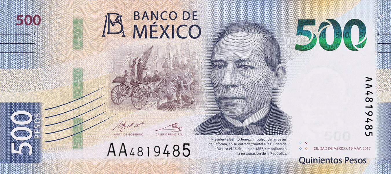 przód banknotu 500 peso meksykańskich serii G